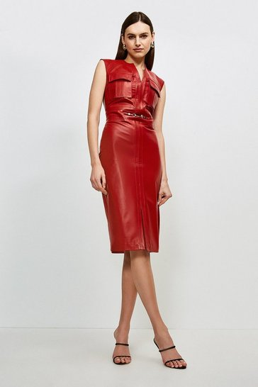 Red Leather Snaffle Trim Pocket Dress