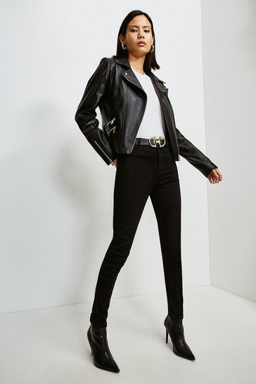 Black Leather Perforated Panel Biker Jacket