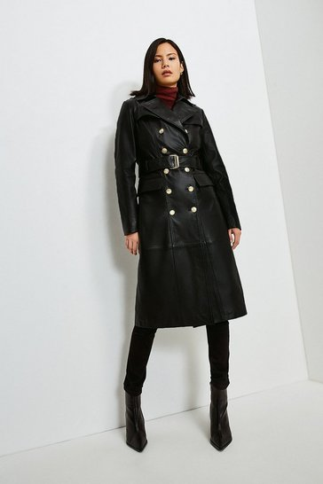 Black Leather Gold Button Trench Coat