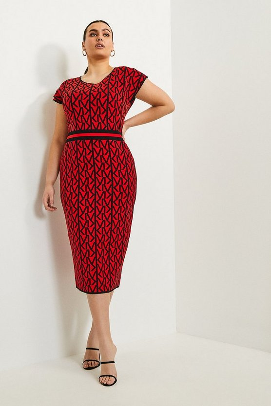 Red Curve KM Logo Knitted Midi Dress