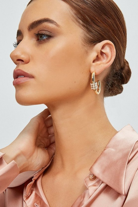 Gold Plated Pearl Detail Hoops