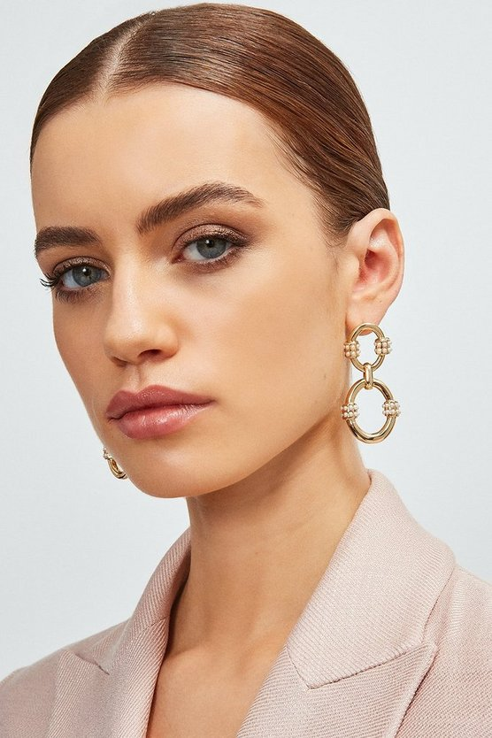 Gold Plated Pearl Detail Earrings