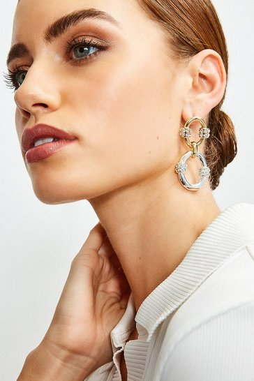 Gold And Silver Plated Diamante Drop Earrings