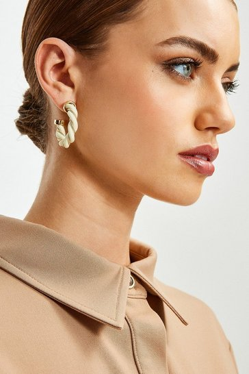 Gold Twist Detail Hoop Earrings