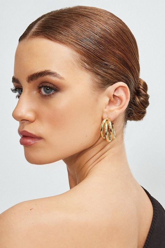 Gold Plated Layered Hoop Earrings