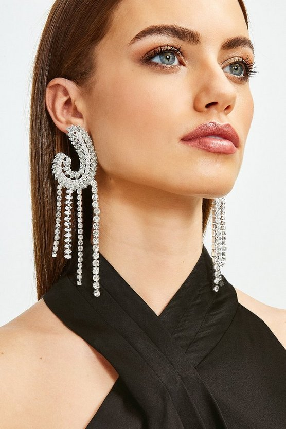 Silver Statement Diamante Drop Earrings