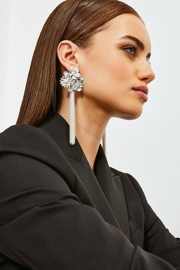 Silver Flower Tassel Earrings