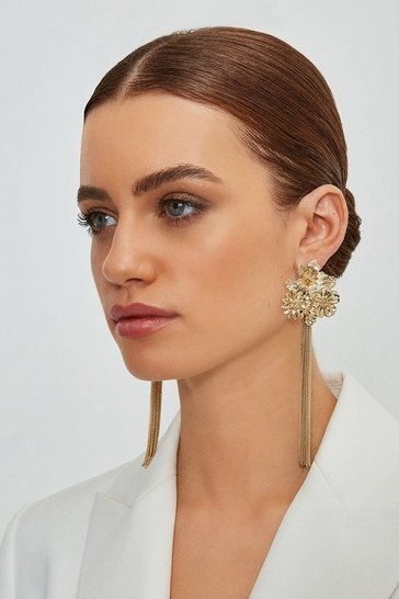 Gold Flower Tassel Earrings