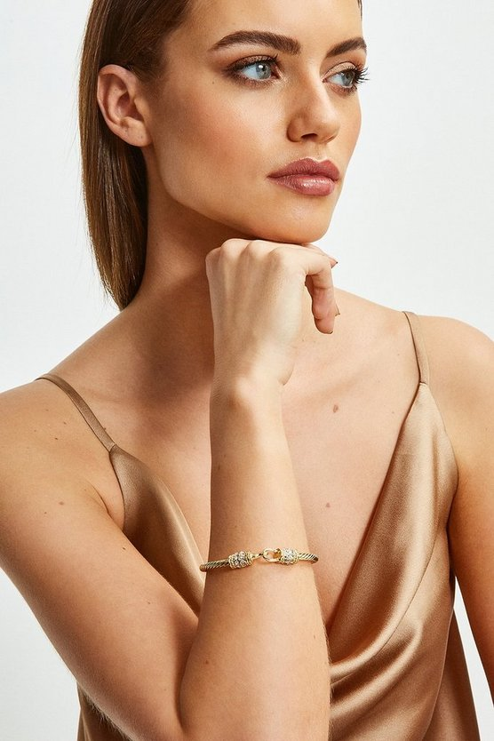 Gold Plated Diamante Twist Detail Bracelet