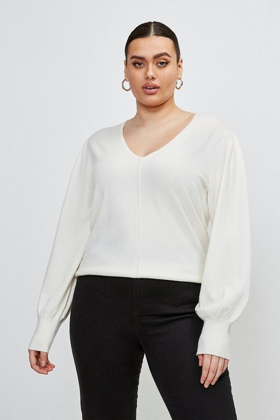 Ivory Curve Puff Sleeve V Neck Knitted Jumper
