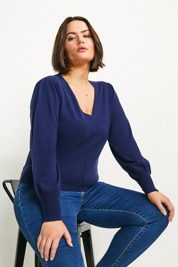 Navy Curve Puff Sleeve V Neck Knitted Jumper