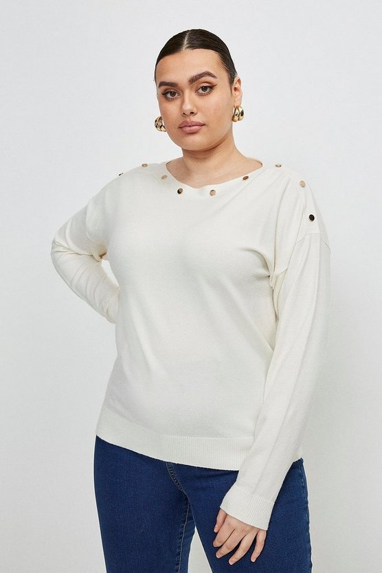 Ivory Curve Button Detail Slash Neck Jumper