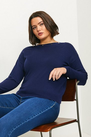 Navy Curve Button Detail Slash Neck Jumper