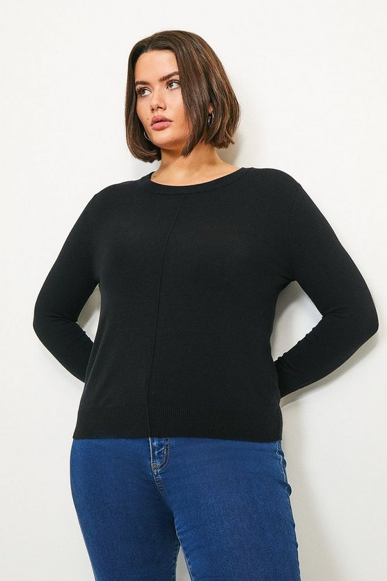 Black Curve Button Back Knit Jumper