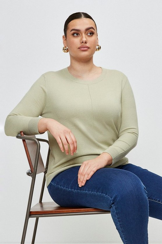 Sage Curve Button Back Knit Jumper