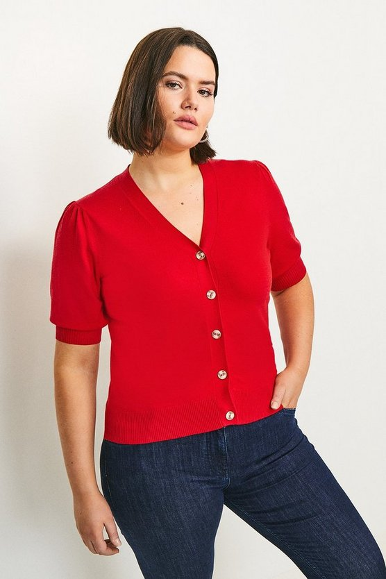 Red Curve Short Puff Sleeve Knitted Cardigan