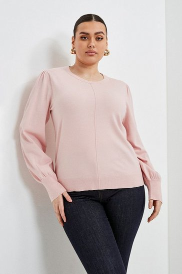 Pale pink Curve Puff Sleeve Knitted Jumper