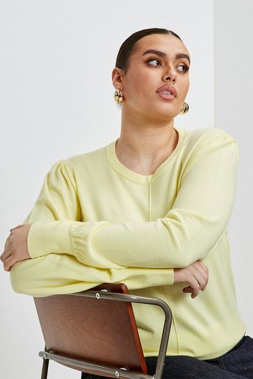 Yellow Curve Puff Sleeve Knitted Jumper