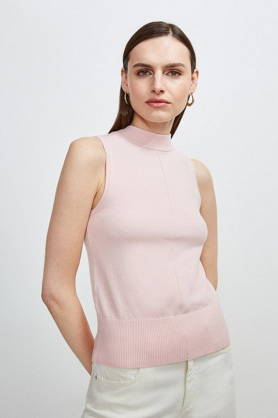 Pale pink Button Back Sleeveless Knit Top