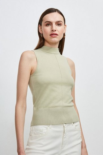 Sage Button Back Sleeveless Knit Top