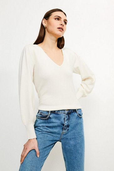 Ivory Puff Sleeve V Neck Knitted Jumper