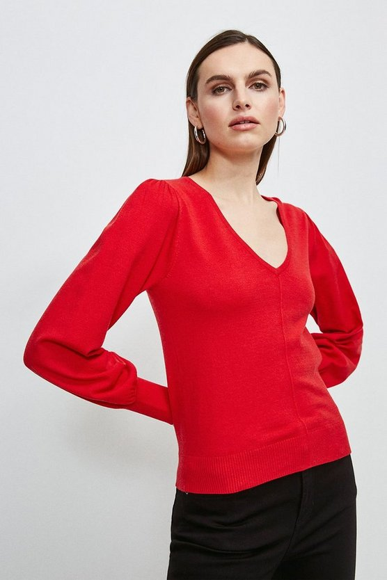 Red Puff Sleeve V Neck Knitted Jumper