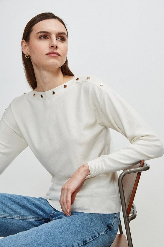 Ivory Button Detail Slash Neck Jumper