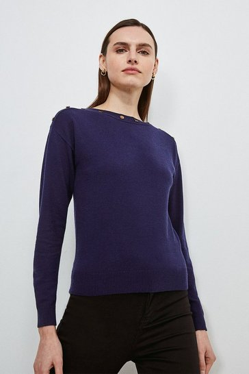 Navy Button Detail Slash Neck Jumper