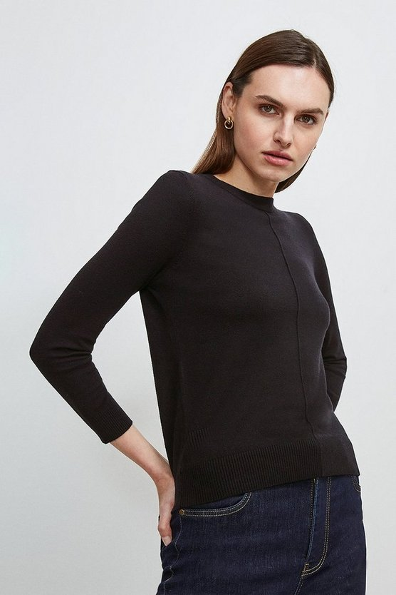 Black Button Back Knit Jumper