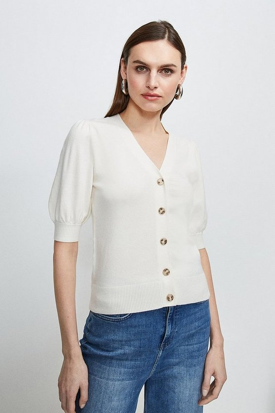 Ivory Short Puff Sleeve Knitted Cardigan