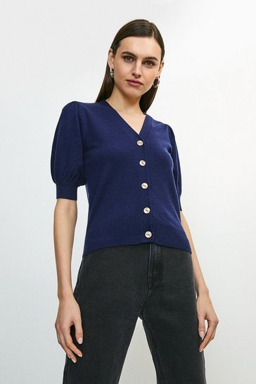 Navy Short Puff Sleeve Knitted Cardigan
