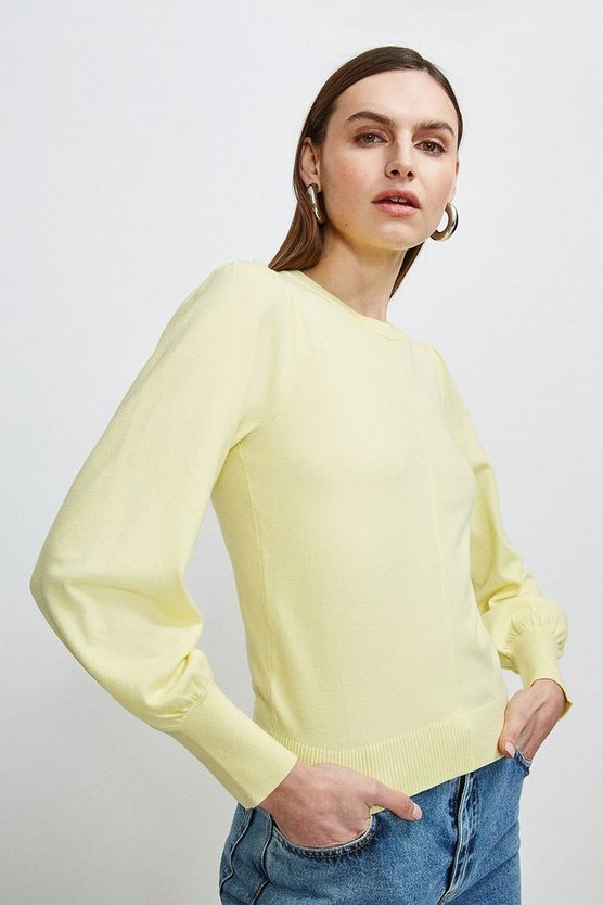 Yellow Puff Sleeve Knitted Jumper