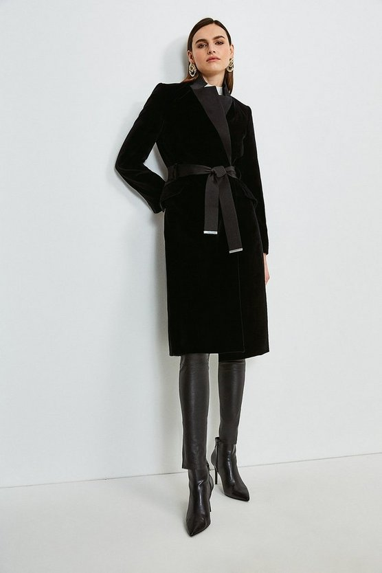 Black Signature Velvet Investment Notch Neck Coat