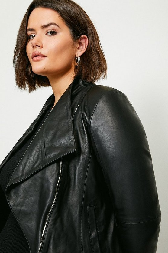 Black Curve Leather and Ponte Envelope Neck Biker Jacket