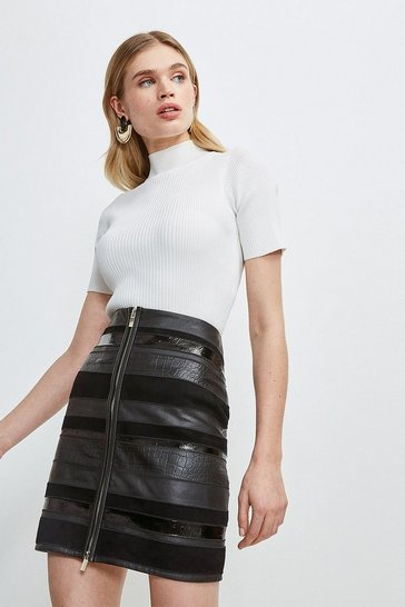 Black Panel Mix Leather Mini Skirt