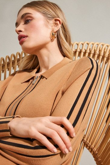 Camel Stripe Trim Milano Zip Through Cardigan