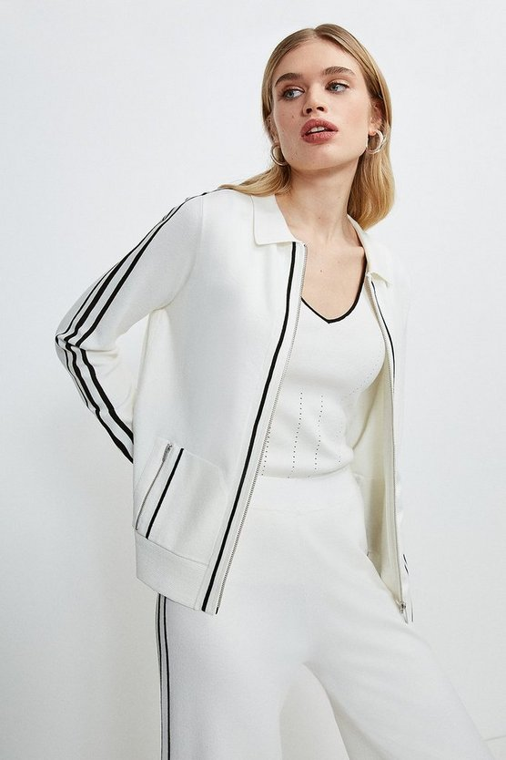 Cream Stripe Trim Milano Zip Through Cardigan