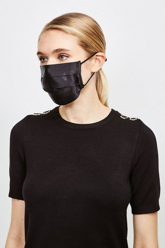 Black 2 Pack Fashion Silk Face Mask Covering