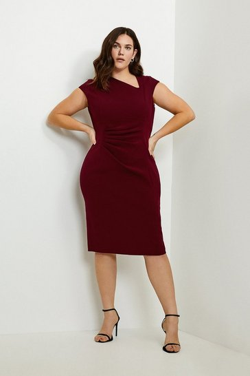 Wine Curve Asymmetric Tuck Detail Dress