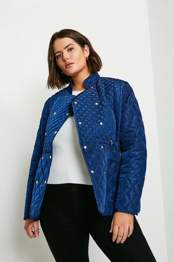 Navy Curve Double Popper Quilted Jacket