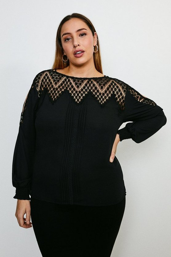 Black Curve Cold Shoulder Diamond Lace Top