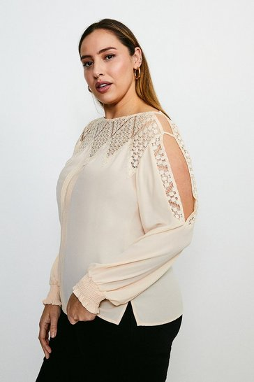 Ivory Curve Cold Shoulder Diamond Lace Top