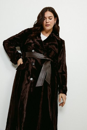 Chocolate Curve Signature Ponyskin Coat