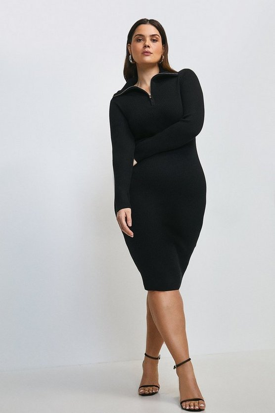 Black Curve Zip Front Open Neck Jumper Dress
