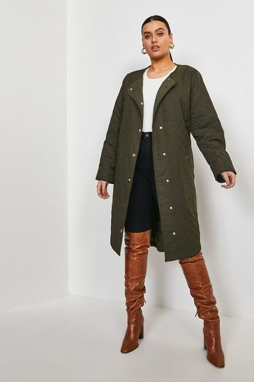 Khaki Curve Quilted Liner Coat