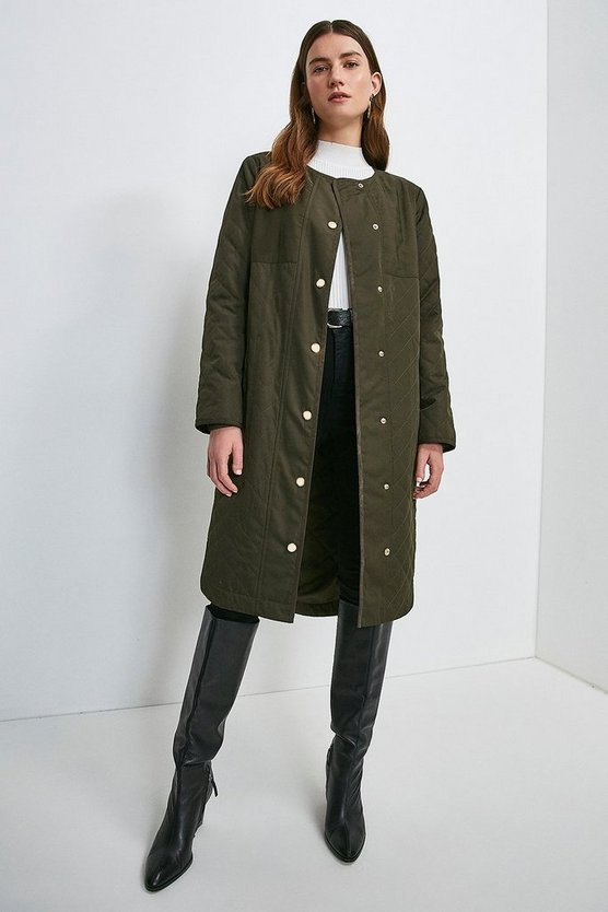 Khaki Quilted Liner Coat