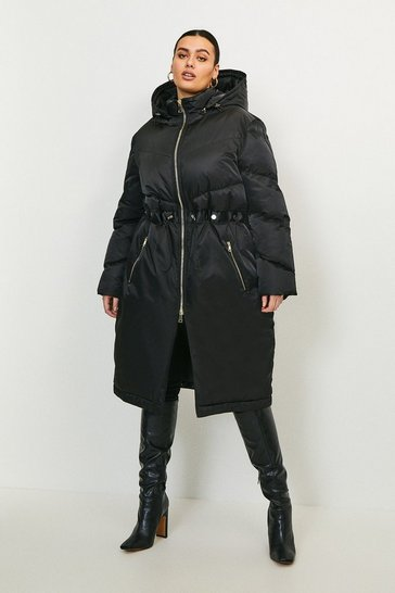 Black Curve Two Way Puffer Coat