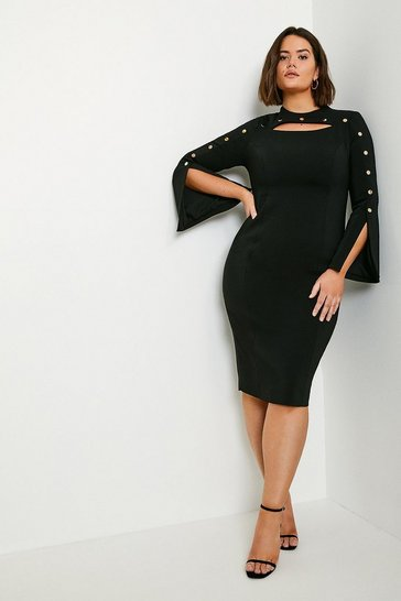 Black Curve Stud Detail Split Sleeve Pencil Dress