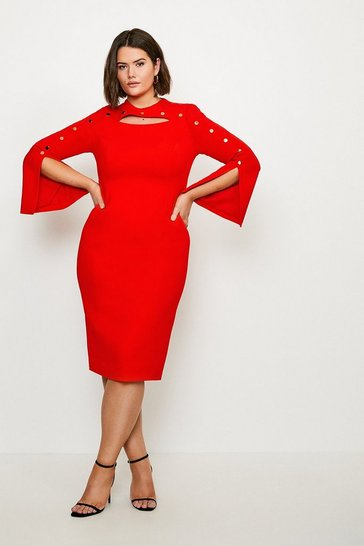 Red Curve Stud Detail Split Sleeve Pencil Dress