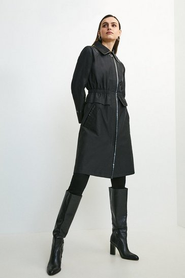 Black Pu Detail Peplum Trench Coat